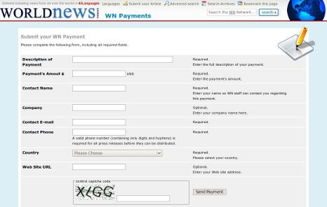 Website for payment processing.